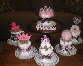 PRINCESS Diaper Cake Baby Shower Centerpieces other colors,designs and toppers too prince cakes too