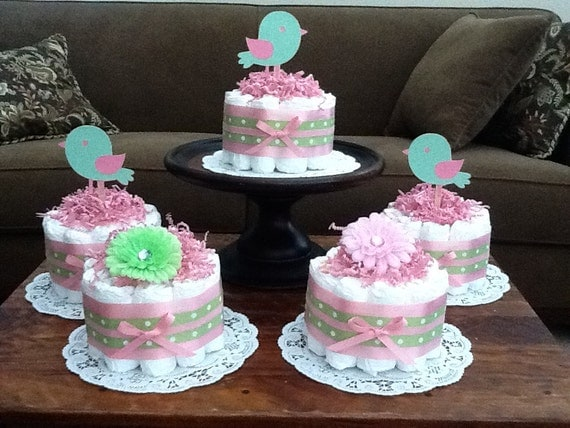 Pink and green bird diaper cakes baby shower centerpieces for Pink diaper bouquet