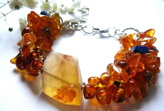 OM WellBeing Bracelet / Amber , Flourite, Lapis Lazuli