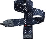 "CUSTOM CAMERA STRAP - ""navy mini dots"" - ALABcraft"