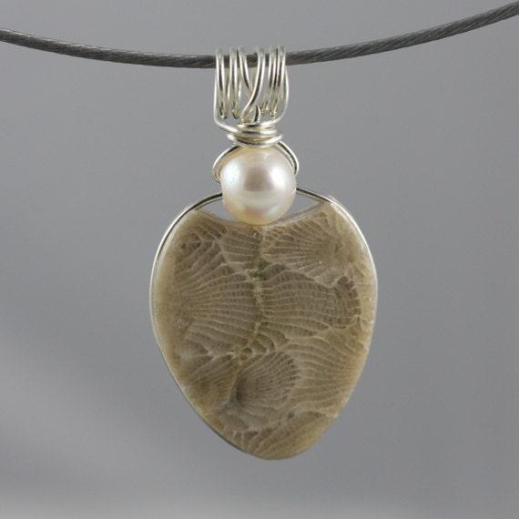 Petoskey Stone Jewelry, Pearl Jewelry, Petoskey Stone Pendant