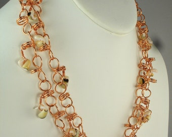 "Beach Line, handmade, manipulated Copper wire links and real shell charms, 38"" long necklace"