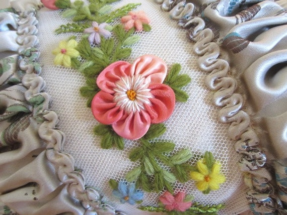 Vintage Boudoir Bed Pillow - Ribbonwork Roses - Embroidered Flowers