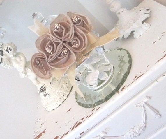 Vintage Millinery Flowers - Rosettes - Applique - Faux Pearl Stamens - Velvet Ribbon