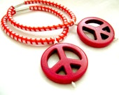 Ponytail Holder for Men Hippie Peace Red Turquoise Blue Yellow Purple
