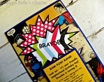 Superhero/Comic Party Invitations...Set of 10 Comic invitations