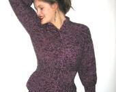 BASIA DESIGNS Original Classic Peplum Cardigan in Black and Purple Mix yarns