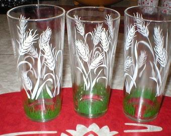 Vintage, 50s, Wheat Drinking Glasses (Set of 3) spring, cocktail, smoothie