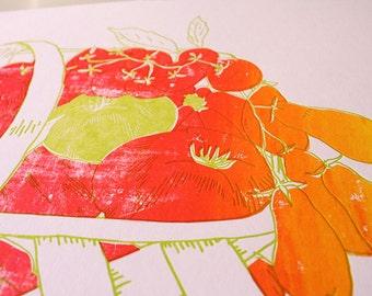 Letterpress & Silkscreen Tomato Basket Kitchen Print- Foodie Art