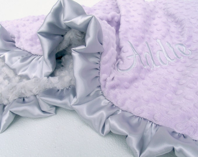 Lavender and Silver Gray Minky Baby Blanket - Silver Swirl Minky Can Be Personalized