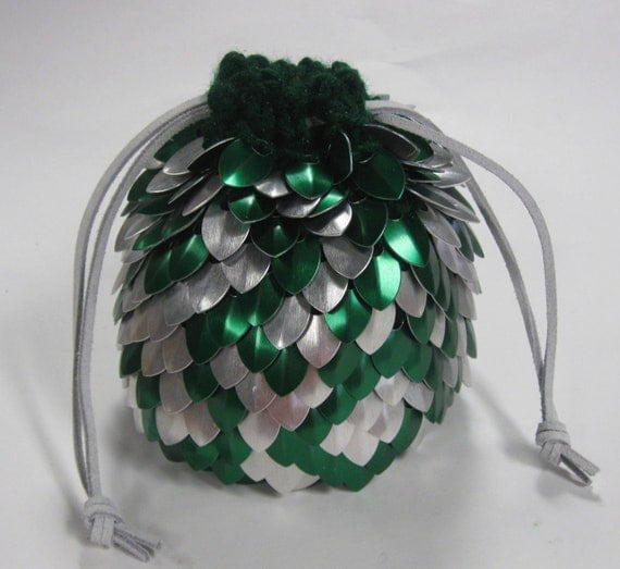 Extra Large Scalemail Dice Bag of Holding in Knitted Dragonhide Armor Silver Forest