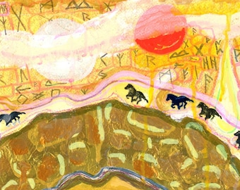 Art Print - Icelandic Horses Marching Past the Sun and the Rune-Filled Sky