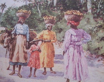 1913 Vintage Watercolor print by E J Read, Going to Market