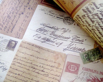 Vintage Italian Postcards Paper - 9x12 - Qty:4