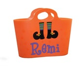 Halloween Personalized Tote / Gift Basket  - Trick or Treat / Witch