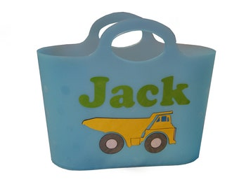 Personalized Bubble Tote / Gift Basket / Beach Bag - Dump Truck
