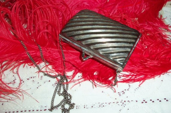 Vintage Antique Art Deco 30s Silver Metal Purse