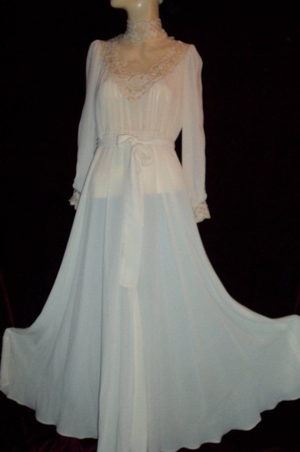 Vintage 60s 70s Victorian Style Wedding Gown Dress