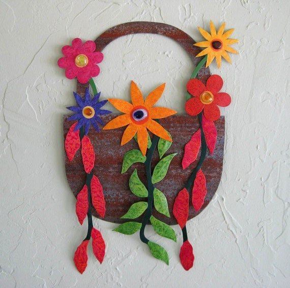 Metal Flower Hanging Baskets : Art sculpture metal wall hanging basket by frivoloustendencies