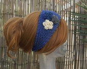 Handmade Knit Blue Head Wrap Earwarmer Headband with Crochet Three Flower