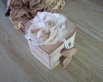 Shabby Distressed Aged Ivory Heart Wedding Ringbearers Box
