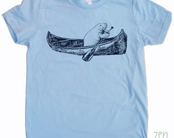 Kids MANATEE (in a Canoe) Tee Shirt - American Apparel Sizes 2 4 6 8 10 12 (3 Color Options)  - FREE Shipping