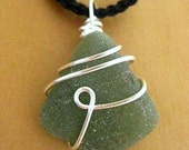 Green Irish Seaglass Pendant. Olive Ocean