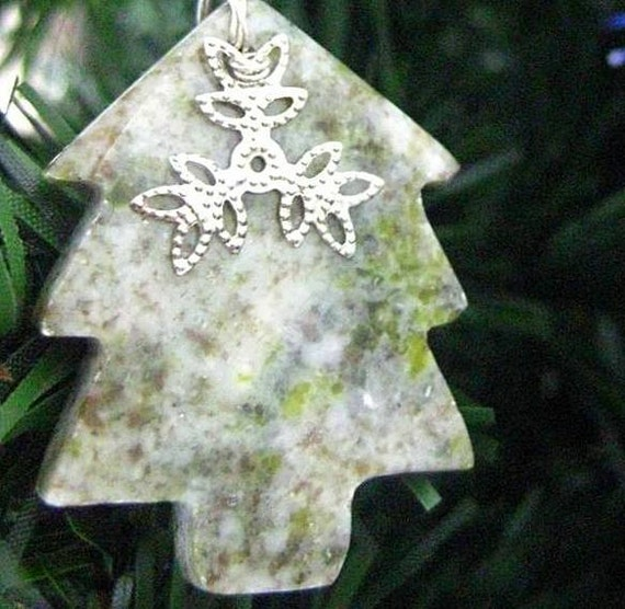 SALE Snowflake on Tree Decoration. Connemara Marble Ornament from Ireland.