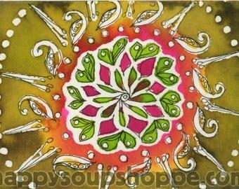mandala watercolor blank greeting card vermont made