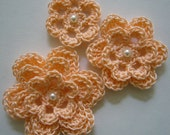 Crocheted Flowers - Peach - Pearl Accent - Cotton - Crocheted Appliques - Crocheted Embellishments