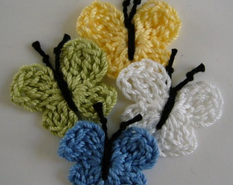Crocheted Butterflies - Yellow, White, Blue and Lime Green - Cotton - Crocheted Appliques - Crocheted Embellisments