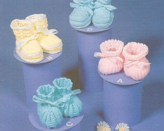 PDF Vintage Babys Knitted Bootees x 4 Birth to Three Months Knitting Pattern (SD191)