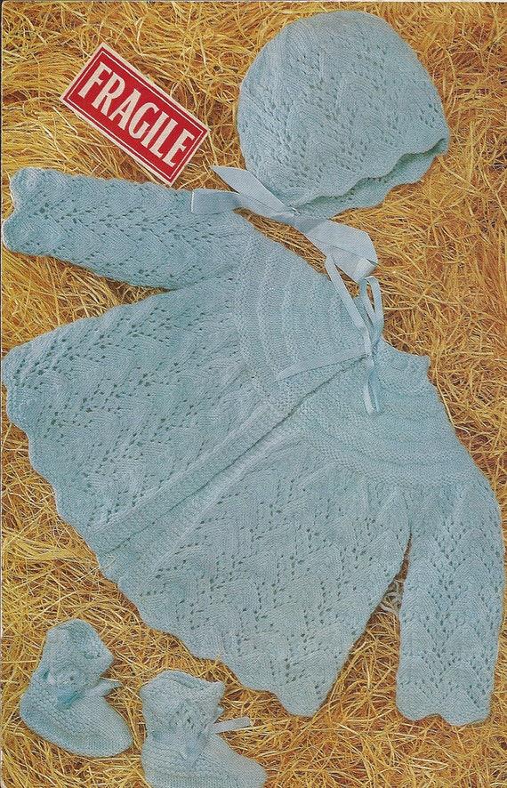 PDF Knitting Pattern Baby Angel/Matinee Coat/Jacket/Cardigan