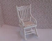 Shabby Chic   rocking chair, slightly taller, ,  distressed white with rose bouquets,  Twelfth scale dollhouse miniature