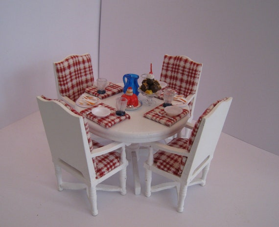 Apple cottage filled table and chairs set twelfth scale country, . a dollhouse mini