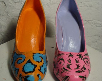 Andy Warhol Inspired Painted Display Shoes.