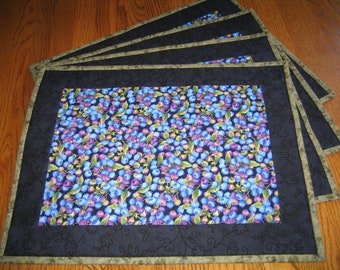 Quilted Blueberry Placemats - Set of 4