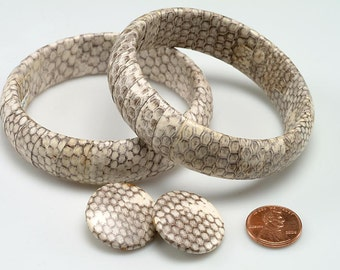 Free US Shipping -Set of Two Leather Bangle Bracelets w/ matching Clip Earrings:  SNAKESKIN Pattern - 1960-1970 - Very RETRO