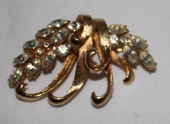 Vintage Brooch, Marquise Cut Rhinestones on Goldtone by BSK, 1950's