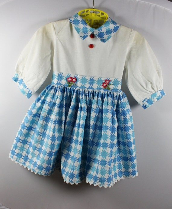 Vintage Dress for a Little Girl, Blue and White Checked Gathered Skirt, 1950's