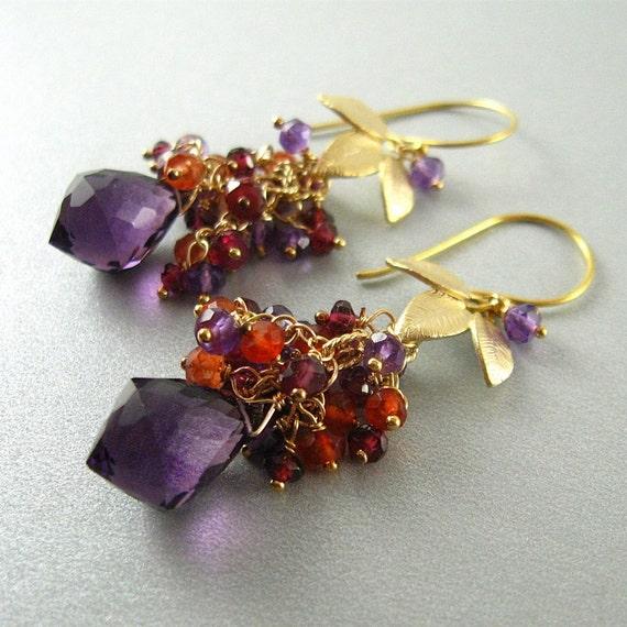 1/2 Off - Amethyst and Garnet Cluster Earrings