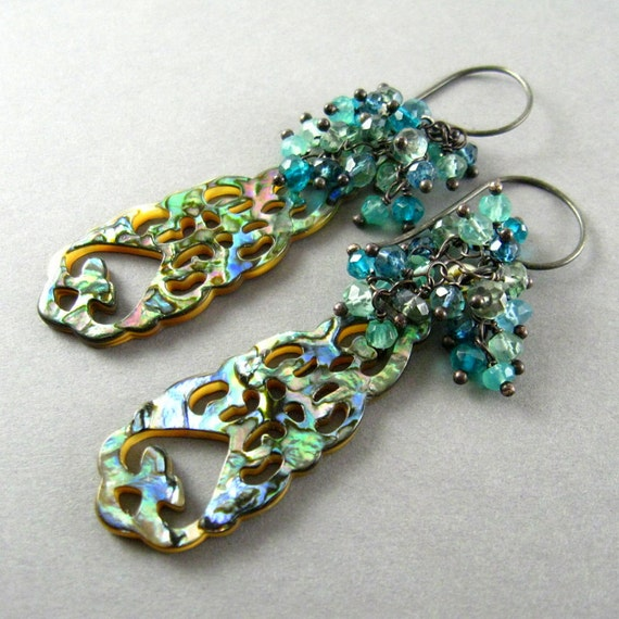 Carved Abalone and Quartz Cluster Sterling Silver Wire Wrapped Earrings