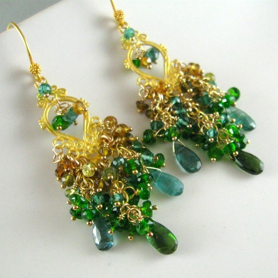 Reserved- Green Tourmaline, Chrome Diopside, Tundura Toumaline Cluster Earrings