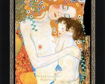 Mother and Child by Gustav Klimt  - Three Ages of Woman - 1905 Giclee Art Print - Wall Art Art Noveau