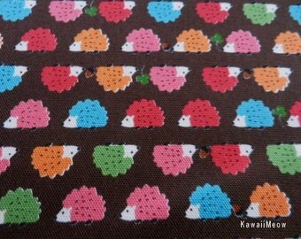 Kawaii Japanese Fabric - Baby Hedgehog on Brown x Colorful - Fat Quarter (i130620)