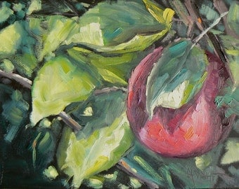 "Apple Painting, Kitchen Art, 6x8"" Impressionist Painting, Landscape Oil Painting, ""Eve's Apple"""