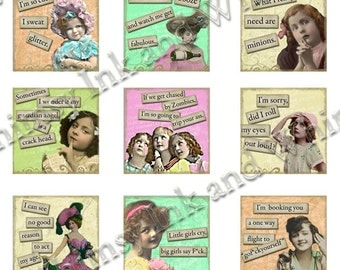 Collage sheet,  .875 inch Square 7/8 ,  VINTAGE  SASSY LADIES Collection 1,   Vintage Photos,  Funny sayings, Instant Download.  Altered art