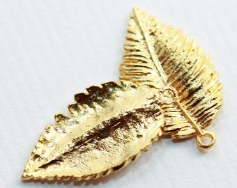 Vintage Golden Grained natural veined Leaf Charms (2) 23 mm long