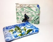 Small Cotton  Zipper Pouch Set Small Wallet Set Small Card Pouch French Blue Journal