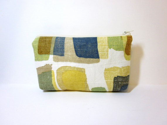 Medium  Zipper Pouch -Gold, Blue, Green Shapes